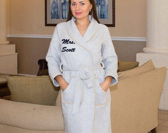 Personalized bath robe, Bridal customized gift, His and hers robes, wedding gift, customized name, couples robes, Gift for him