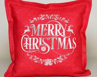 Merry Christmas cushion cover Christmas gift Christmas pillow Winter pillow cover, 16''x16'', 100% linen