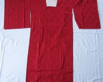 Vintage red checkered kimono raincoat