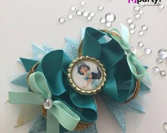 Princess Jasmine Hair Bow, Jasmine Hairbow, Jasmine Birthday, Jasmine Outfit, Princess Jasmine, Princess Hair Bow