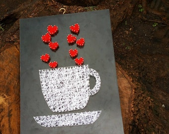 Coffee cup string art
