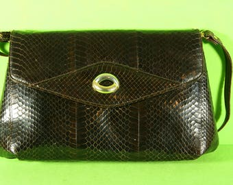 Leather and Python shoulder bag