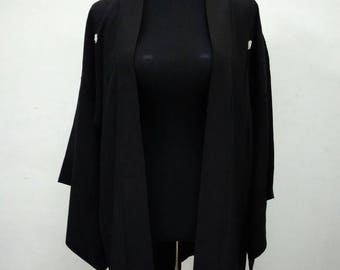 Japanese haori kimono black vintage kimono jacket /kimono cardigan/kimono robe/#015