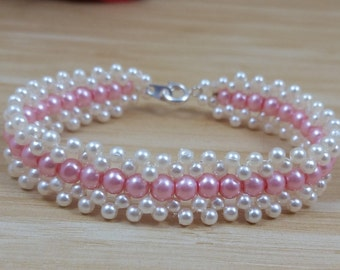 Pearl White and Pink Beaded Bracelet, Weaving bracelet, with Lobster Clasp