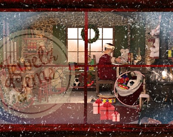 Santa's Workshop Window Backdrop, Santa's Workshop Window Background, Santa's Workshop Backdrop, Santa's Workshop Background, North Pole