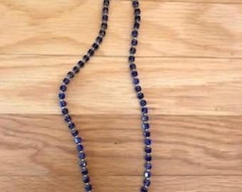Fire-polished cobalt necklace