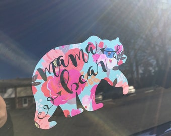 Floral mama bear decal