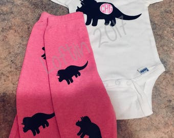 Monogrammed Baby Dinosaurs for a Baby