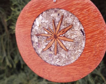Wooden necklace. Redwood pendant with star aniseeds, shell inlay. Natural jewelry for womens. Exclusive jewelry. Perfect natural eco gift