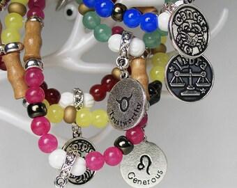 LIBRA Zodiac Sign Glass Wood Bead Bracelet Evil Eye Protection Luck Charm