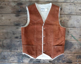 Vintage 70's Leather Sherpa Rancher Vest Size Medium MADE IN USA