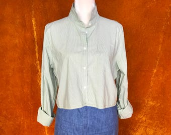Crop Top, Repurposed Blouse, Women's Medium, Green Stripes, Long Sleeve Button Up