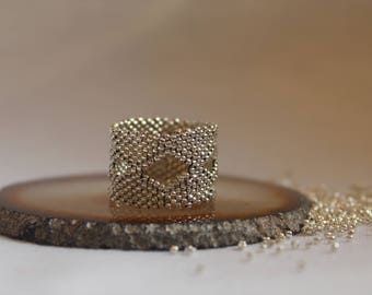 Diamond - Peyote Stitch Ring - Made of 1.2 mm Silver Plated Seed Beads - Made to Order