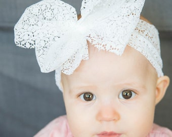White Lace Messy Bow Headwrap