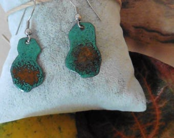 Enamels on copper, green and orange earrings