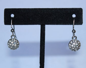 Round Silver Earrings with Small Diamonds Inside