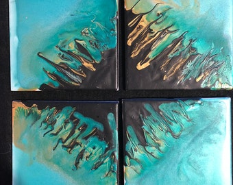4 Ceramic acrylic painted tiles