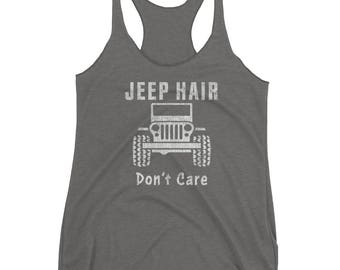 Vintage Jeep Hair Don't Care, Funny Jeep Lover Off Road Tank for Jeep Owners, Jeep Clothing, Jeep Tank Top, Jeep Tank | Women's Racerback Ta