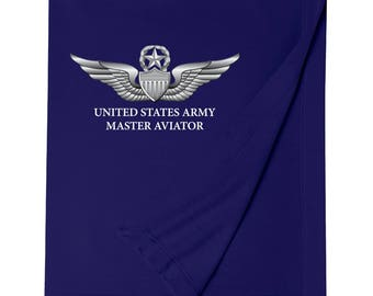 United States Army Master Aviator Embroidered Blanket-7397