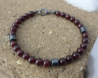 Red Garnet and Hematite 6mm Beaded Bracelet January Birthstone
