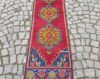 2.3' x 9.8' Handmade Runner Rug , vintage runner rug , Hallway rug , Oushak Rug , Unique rug , Hand knotted rug , FREE SHIPPING!