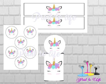 Unicorn PRINTABLE Pringles Can labels with matching toppers 1.3 oz mini can-Download