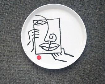 "Large plate, stoneware ""Head to the square"" 26 cm"