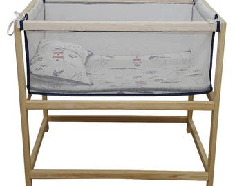 Wooden bassinet, cradle, cot, baby bed made from wood with mattress and pillow. 3 colors available: pink, blue and red