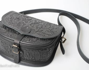 Big crossbody bag, black messenger bag,hunter bag, hot tooled purse, black shoulder bag, capacious leather bag, bag with animals
