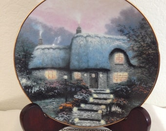 """Thomas Kinkade plate by Knowles """"Candlelit Cottage"""""""