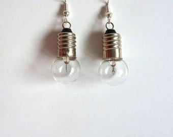 Handmade earrings made of bicycle lights-mini lights-Christmas lights-glass balls-vintage lamp