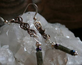 Chainmail moss agate earrings