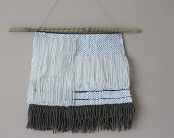 Woven Wall Hanging // Neutral Tapestry // Large Simple Weaving