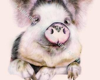 Pig, Illustration, Fine art print, Giclee print, A4 print