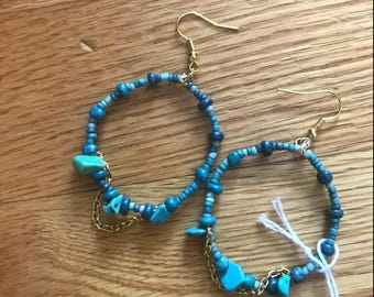 Blue Beaded Turquoise Earrings