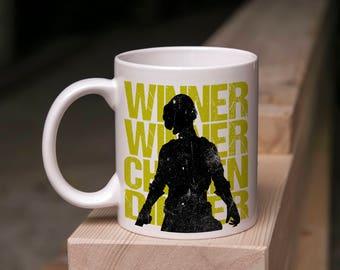 PUBG Gamer Mug Gift - Winner Winner Chicken Dinner Distressed Style - Coffee  Tea 11 Ounce Mug For PlayerUnknowns Battlegrounds
