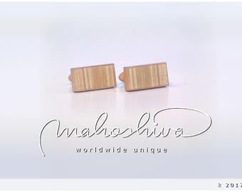 wooden cuff links wood alder maple handmade unique exclusive limited jewelry - mahoshiva k 2017-81