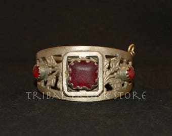 Vintage Afghan cuff bracelet Brass Alloy and red glass jewels with hinged opening