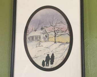 Watercolor - Jim Hoff- 1990- Silhouette - Framed