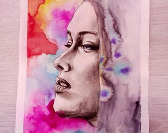 Original Aquarelle Artwork, Galaxy Colors Portrait