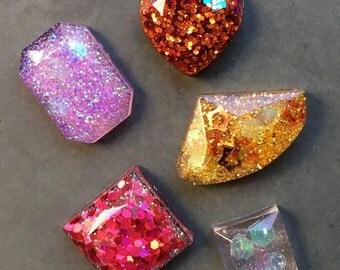 resin glitter gems set