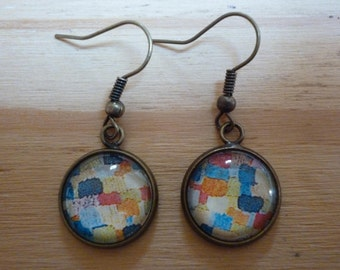 Earrings bronze and glass, upcycled paper image