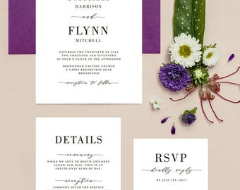 Set of 3 Wedding Invitations Printable Template 1 - BASIC by 3EggsDesign