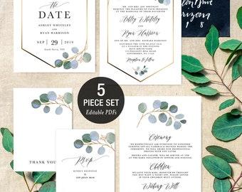 INSTANT DOWNLOAD Blue Eucalyptus Greenery Gold Geometric - Wedding Invitation Printable Template