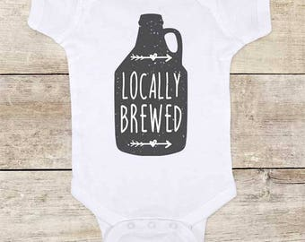 Locally brewed funny alcohol beer drinking Baby bodysuit - baby shower gift surprise baby birth pregnancy announcement