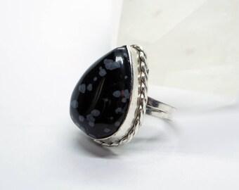 Chunky Snowflake Obsidian Gemstone in Size 6.25