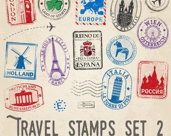 Travel Stamps Illustrations Set 2