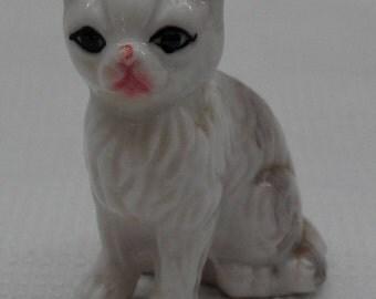 "Vintage 1950's Miniature Porcelain Cat Figurine/Gray & White/2"" Tall"