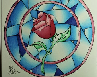 Rose Drawing Beauty and the Beast (Original A5)