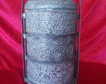Beautiful Antique Hand Carved Ottoman Style Brass Lunch Box #LB1